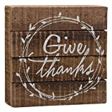 Give Thanks Wood Box Sign – Primitive Country Rustic Home Decor For Sale