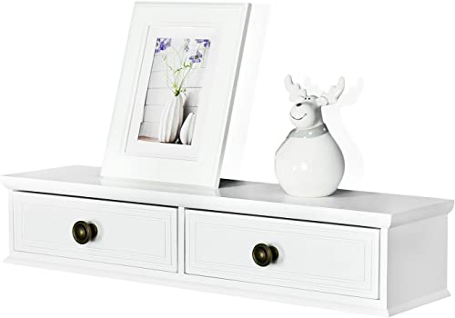 WELLAND Floating Shelves Wall-Mounted Storage Shelf 2 Drawers Entryway White Wall Shelf, A V Components Other Media Accessories 24.5inch
