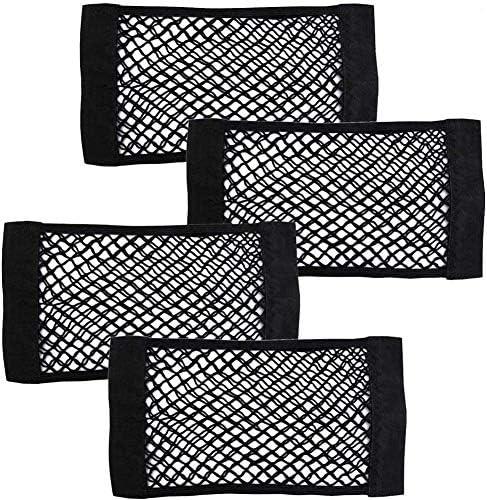 2 Pcs Universal kofferraumnetz Tasche mit 4 Klettstreifen und Gegenst/ück 40x25cm 4 Pcs Kopfst/ützen Haken f/ür Autositz Annuus Netztasche Auto Kofferraum Organizer Set