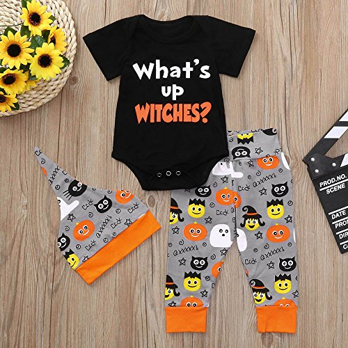 MOKO-PP Infant Baby Girls Boys Letter Print Romper Jumpsuit Halloween Pants Outfits Set(black,70)