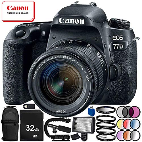 Canon EOS 77D DSLR Camera with 18-55mm Lens 19PC Accessory Bundle – Includes 32GB SD Memory Card + High Speed Card Reader + MORE