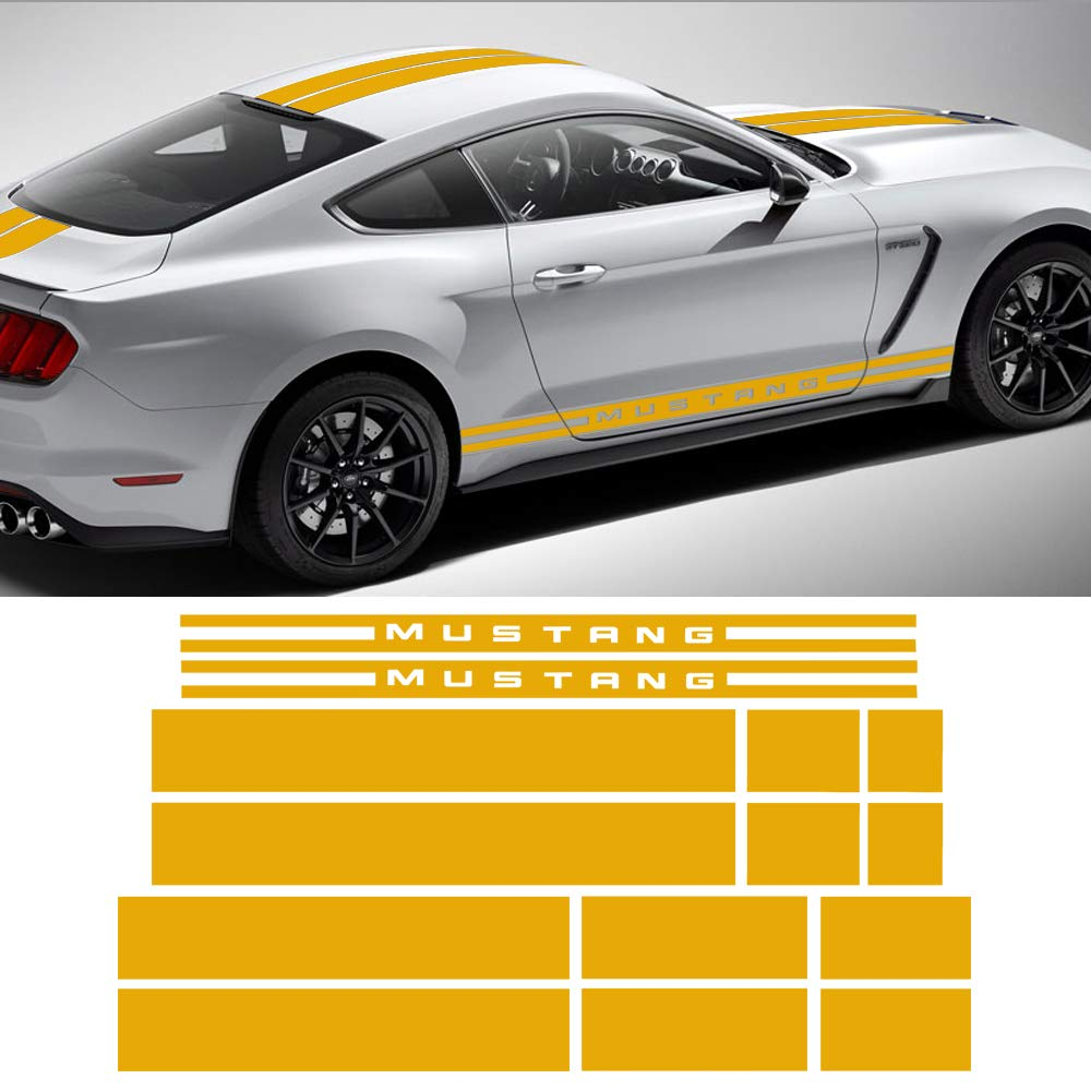 Door rocker stripes hood roof trunk front to back side stripe kit vinyl graphic decal stripes sticker for 2015 2017 ford mustang reflective yellow