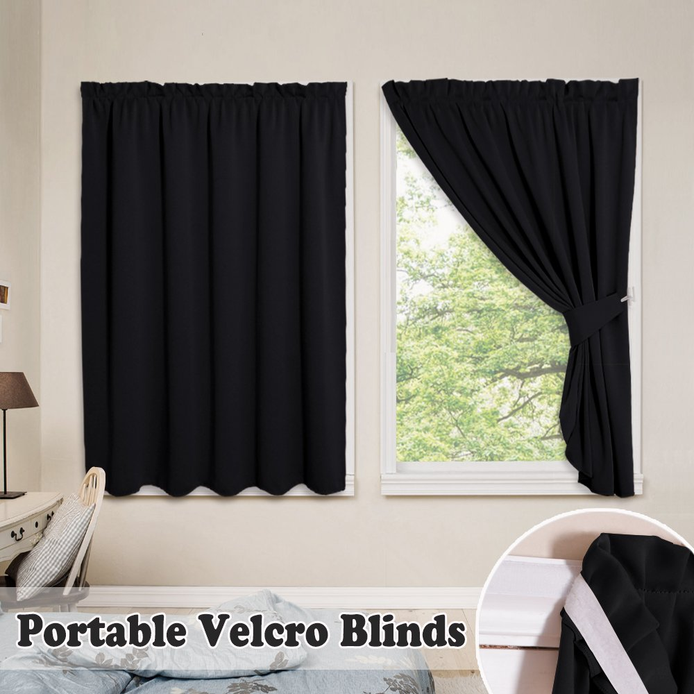 PONY DANCE Vertical Blinds Blackout - Fastening Strips Hook Loop Curtains Shades Portable Window Drapery Magic Strips Travel No Track Need, 40'' Wide 45'' Long, Black, Double Pieces