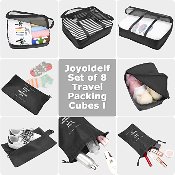 Joyoldelf Set of 8 Travel Essential Bags-in-Bag Packing Cubes Upgraded Suitcase