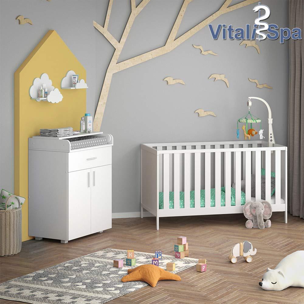 VITALISPA Babybett JONAS 70x140cm Gitterbett Umbaubett Kinderbett umbaubar Grau