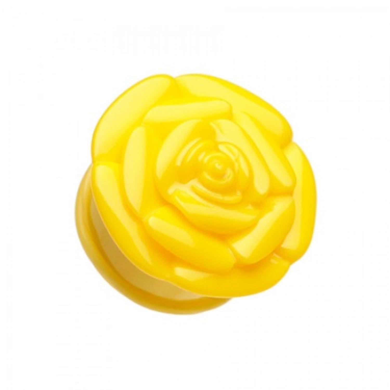 Sold as a Pair Black Rose Blossom Flower Single Flared Ear Plug