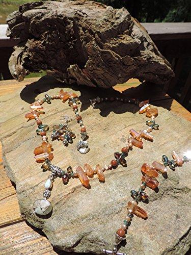 (Arizona White Turquoise W/ Fire Opal Pendant & Cherry Quartz Necklace, Bracelet & Earrings)