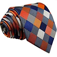 Shlax&Wing Multicolor Checks Necktie Wedding Ties For Men Silk Extra Long Size 57.5