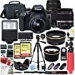 Canon EOS Rebel T6 DSLR Camera with EF-S 18-55mm f/3.5-5.6 IS II and EF 75-300mm f/4-5.6 III Lens and Two (2) 64GB Memory Cards Plus Triple Battery Accessory Bundle