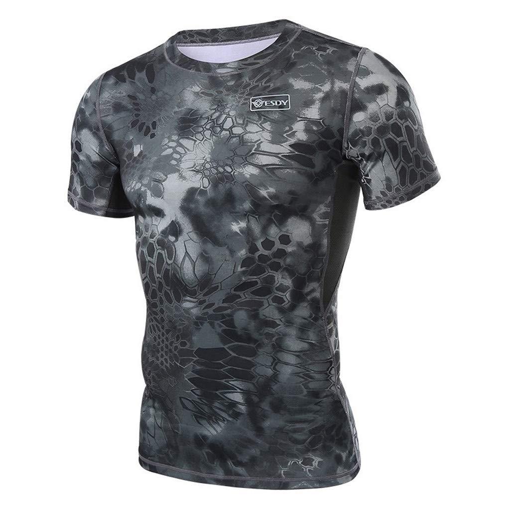 Short Sleeve Shirts for Men's,Sharemen Fitness Fast Drying Serpentine Printing Sports Tight Short Sleeve Tops(Black,XL)