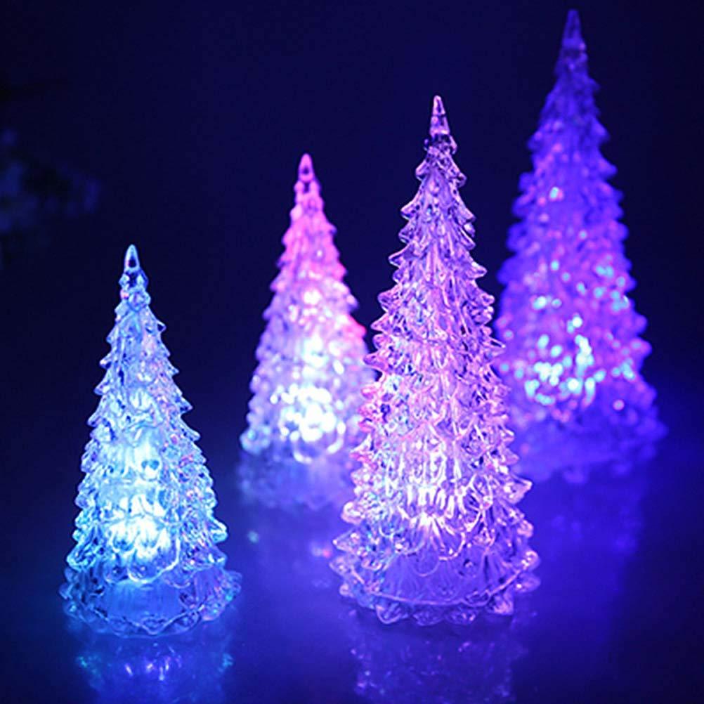 TOYMYTOY 8pcs Tabletop Fiber Optic Christmas Tree Acrylic Light Up Christmas Tree Christms Table Decorations