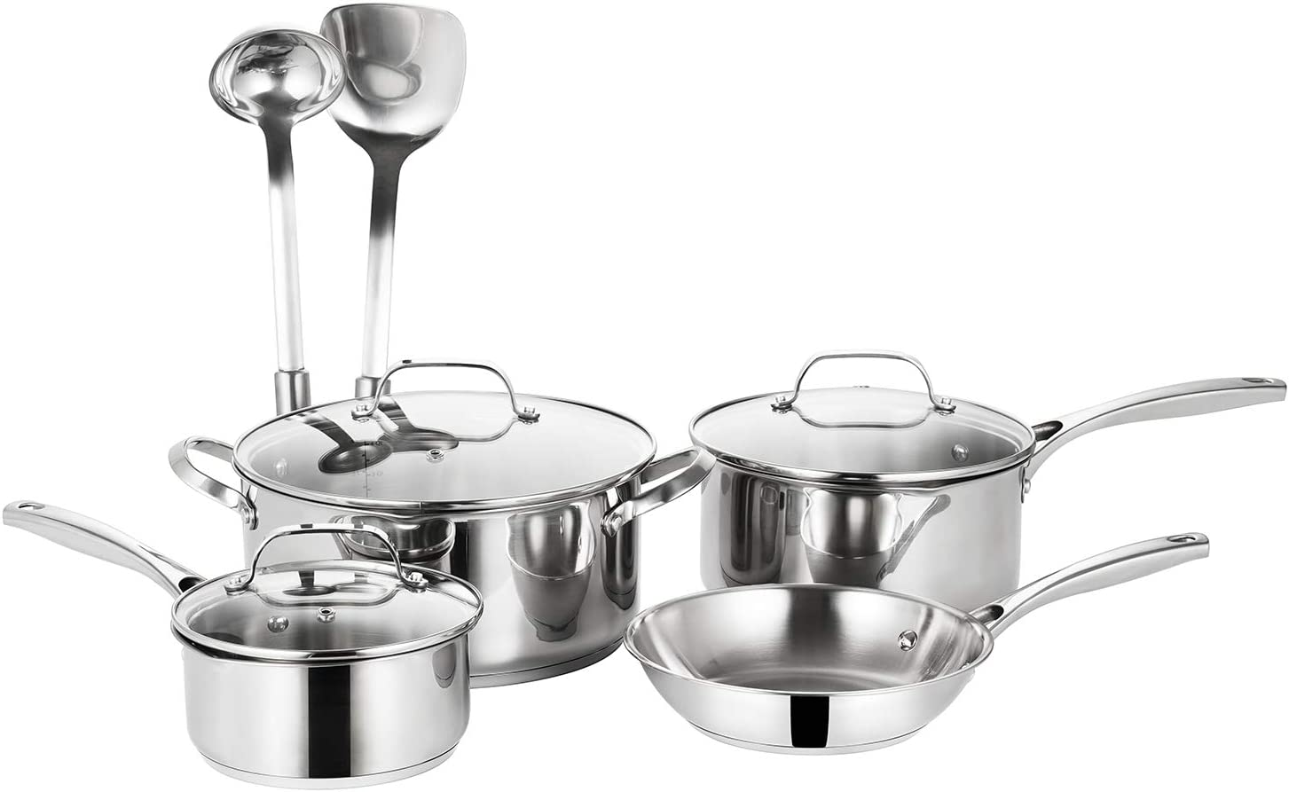 EPPMO 9-Piece SS304 Stainless Steel Cookware Set, Aluminum Fry Pans and Pots, Dishwasher &Induction Safe