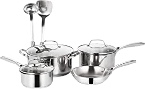 EPPMO SS304 Stainless Steel Cookware Set, Pots and Pans, 9 Piece