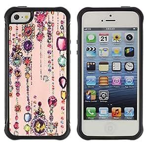WAWU Funda Carcasa Bumper con Absorci??e Impactos y Anti-Ara??s Espalda Slim Rugged Armor -- jewels ruby sparkle peach pink gold -- Apple Iphone 5 / 5S
