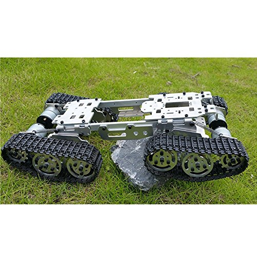 Wenhsin CNC Damping Balance Tank Chassis RC Tank Truck Robot Chassis Arduino Car 15.5 x 8 x 3.3 inch Alloy Body with Plastic Tracks + 4 Motors