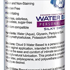 Cloud 9 Novelties Silky Smooth Gel Personal Lubricant Water Based 8 Ounce Condom