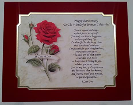25th Wedding Anniversary Gift Love Poem For Wife QuotTo The Wonderful Woman I Marriedquot