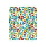VROSELV Custom Blanket Quatrefoil Clover Leaves Barb Style Clover Lattice Boho Colorful Kids Room Bedroom Living Room Dorm Red Turquoise Yellow