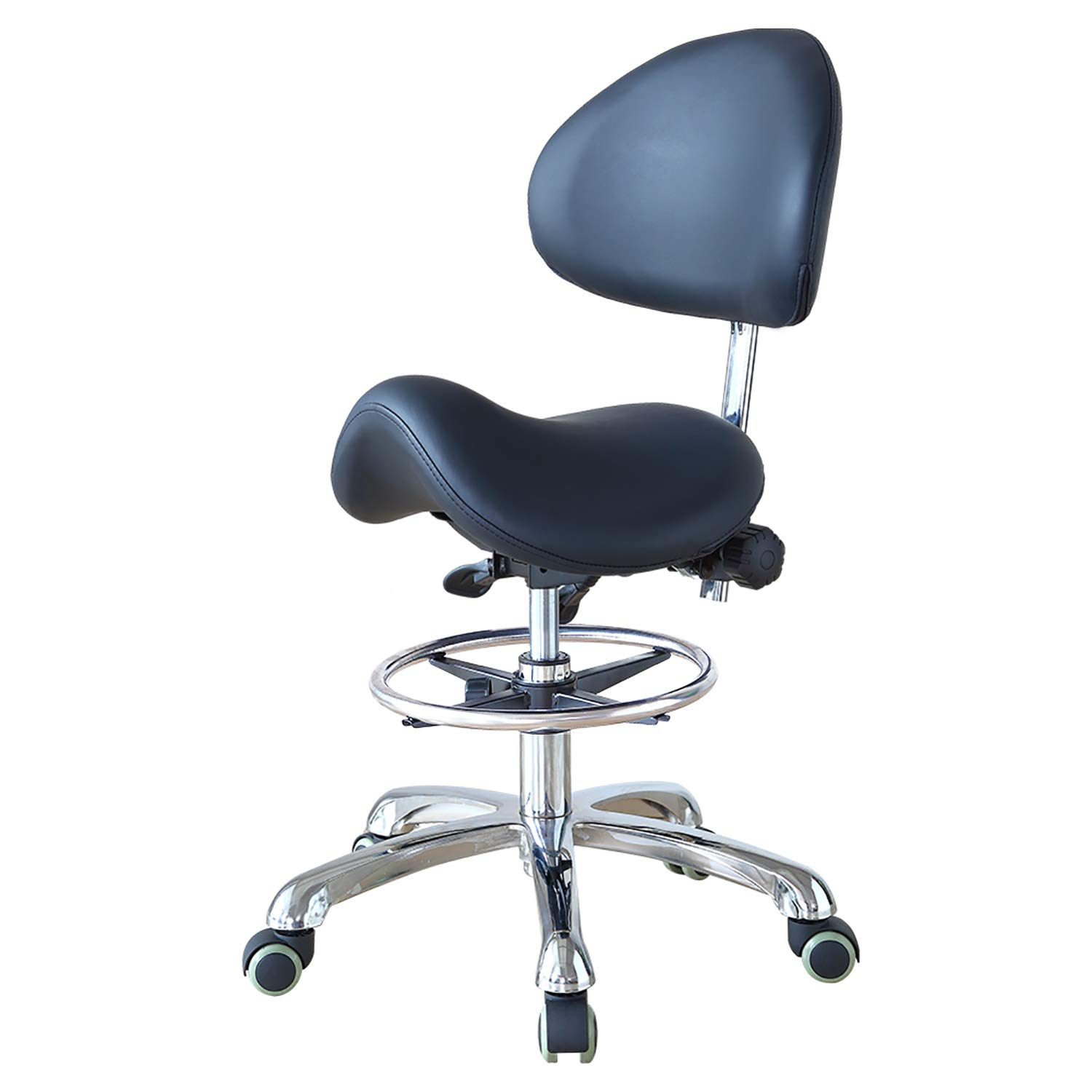 Hydraulic Adjustable Rolling Ergonomic Seat Style Saddle Stool Chair with Backrest and Footrest for Home Office Dental Clinic Use(FOHGFNT),Black