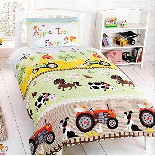 Apple Tree Farm Children's Rotary Single Duvet Quilt and Pillow Case Bedding Set by Generic Duvet Covers