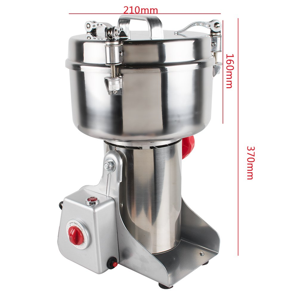 Genmine Electric Grain Grinder Mill Machine Commercial 1000g Kitchen Herb Spice Pepper Coffee Grinder Powder Swing Type for Herb Pulverizer Food Grade Stainless Steel (Shipping From USA) by genmine (Image #8)