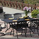 Darlee Sedona 7 Piece Cast Aluminum Patio Dining Set With Scrollwork Table – Antique Bronze
