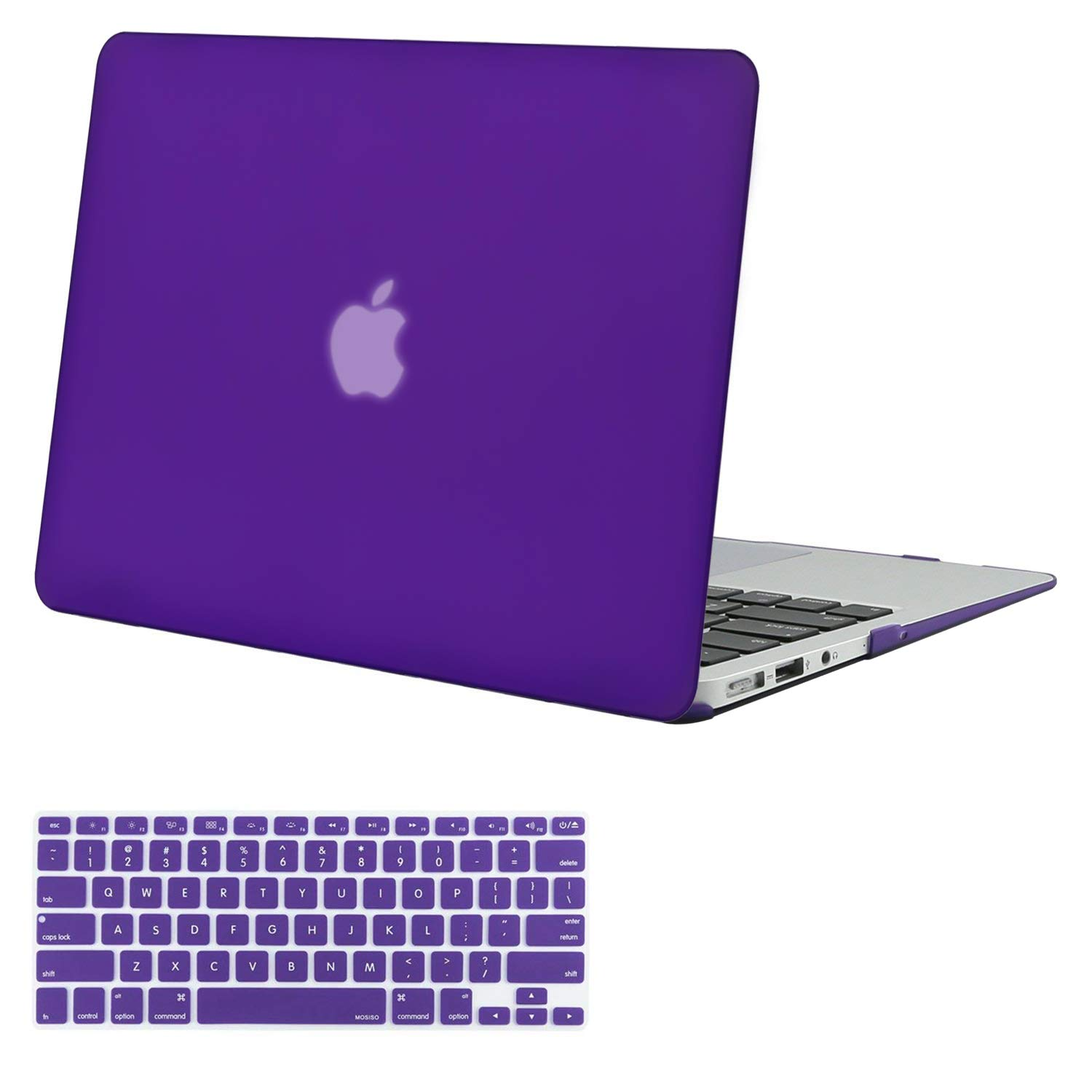 MOSISO Plastic Hard Shell Case & Keyboard Cover Compatible MacBook Air 11 Inch (Models: A1370 & A1465), Ultra Violet