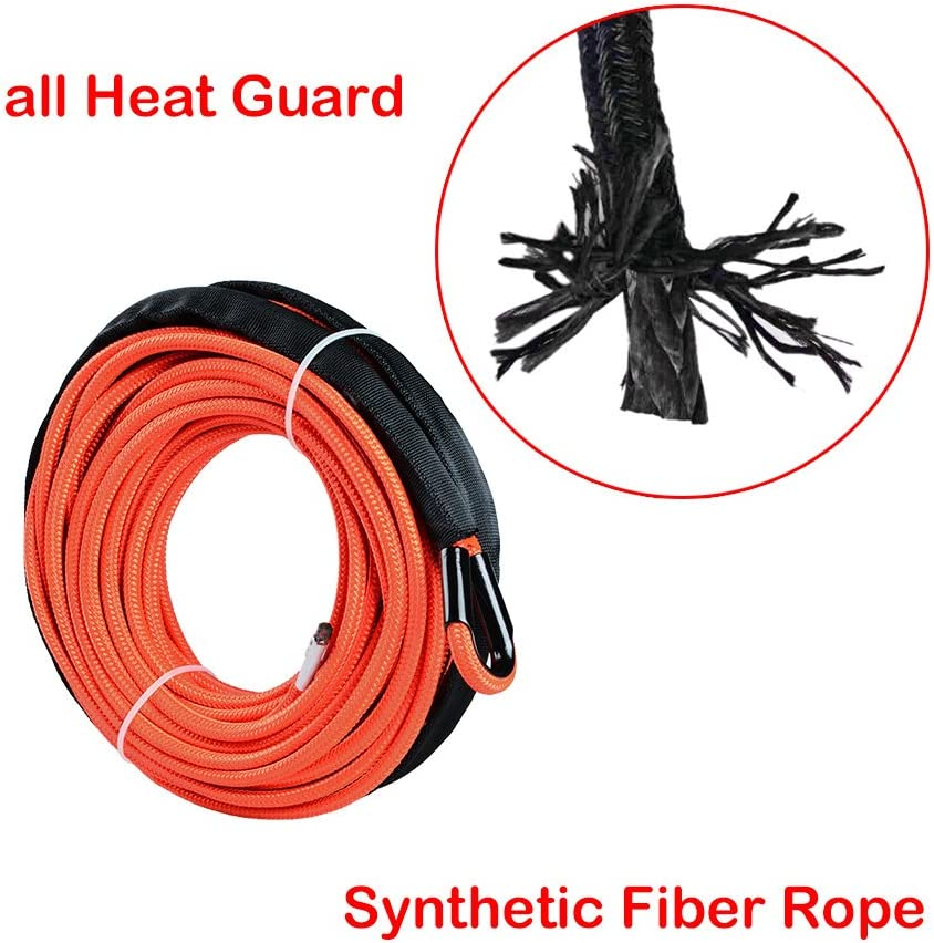 Astra Depot 50ft 1//4 inch Orange Synthetic Winch Rope Cable 6400LBs for Jeep ATV UTV KFI Recovery SUV Truck