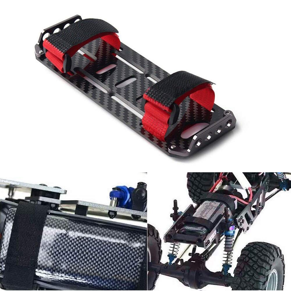 Acxico 1Pcs Carbon Fiber Battery Mounting Plate Tray with Fixed Tie for 1//10 RC Crawler Car Axial SCX10 CC01