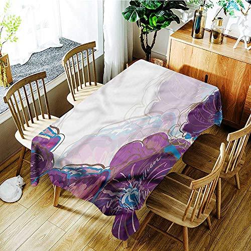 (Plum,Decor Collection Table Cloths Vibrant Flower Petals Cottage 54