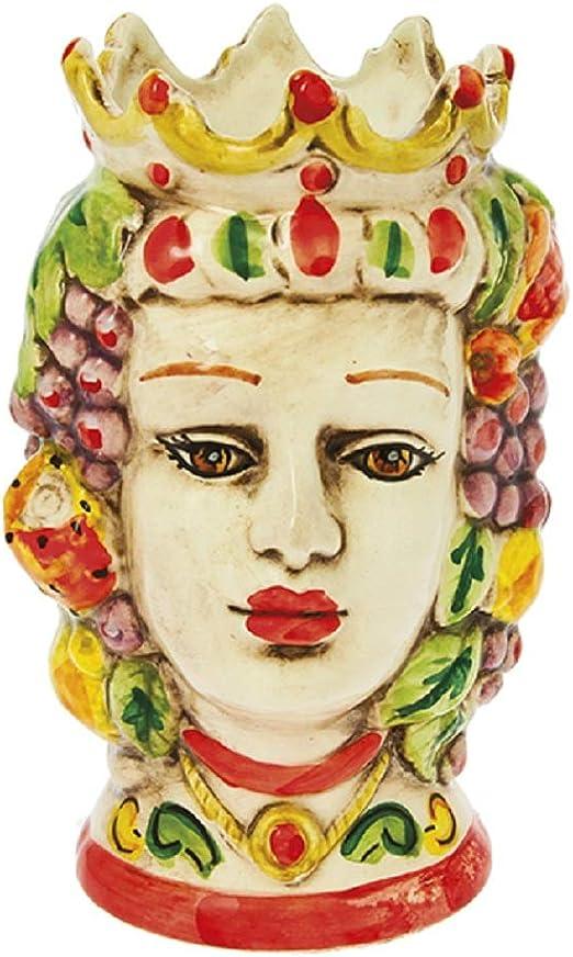 ILAB Testa di Moro Donna Bianca Frutta in Ceramica Nicar/è Decorata A Mano da Ceramisti Siciliani Art.1959021 Diametro:26cm Altezza:35cm,Soprammobili in Ceramica