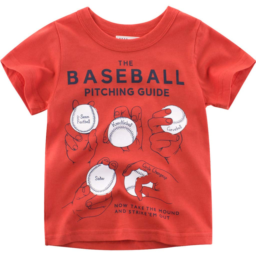 Lavany Baby Boys Girls Shirts Short Sleeve Baseball Printed Clothes Tee for Baby Red