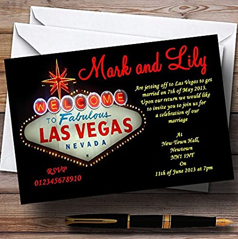 Wedding Invites Las Vegas Sign Fabulous Personalised Wedding Invitations With Envelopes Any Custom Text For Any occasion
