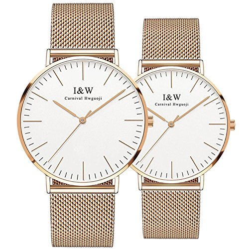 Couple Watches Quartz Simple Extra Flat Milanese Stainless Steel Mesh Band for Her or His Set of 2 by Carnival