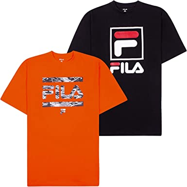 Fila T-Shirts for Men, Big and Tall Men Shirts, Oversize Tees, Shirt 2 Pack