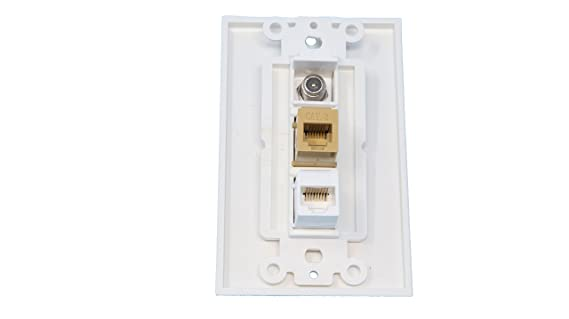 Amazon.com: RiteAV - 1 Port Coax Cable TV- F-Type Phone RJ11 RJ12 and 1 Port Cat5e Ethernet Decorative Wall Plate - White: Home Audio & Theater