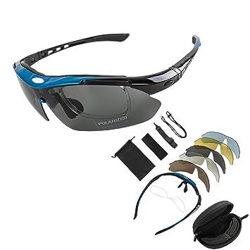 KT SUPPLY Gafas de Sol Deportivas Polarizadas TR90 incluye 5 tipos de lentes intercambiables (Azul)
