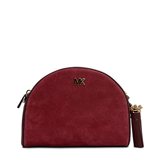 0239d9d8994a Michael Kors Half Moon Maroon Leather   Oxblood Suede Cross-Body Bag  Burgundy Leather