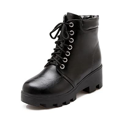 Women's Assorted Color Low-Heels Round Closed Toe PU Lace-up Boots
