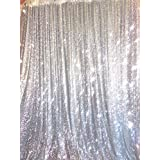 TRLYC 4 Ft X 6.5 Ft Silver Sequins Backdrop Curtain
