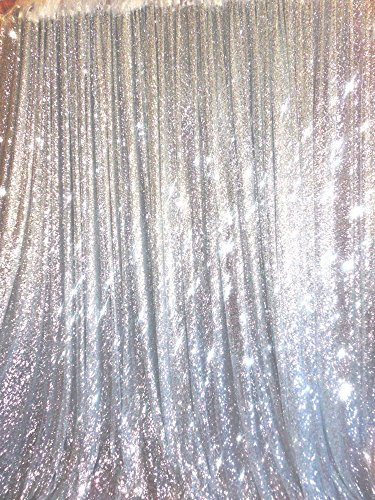 TRLYC 4 Ft X 6.5 Ft Silver Sequins Backdrop Curtain (Silver Backdrop)