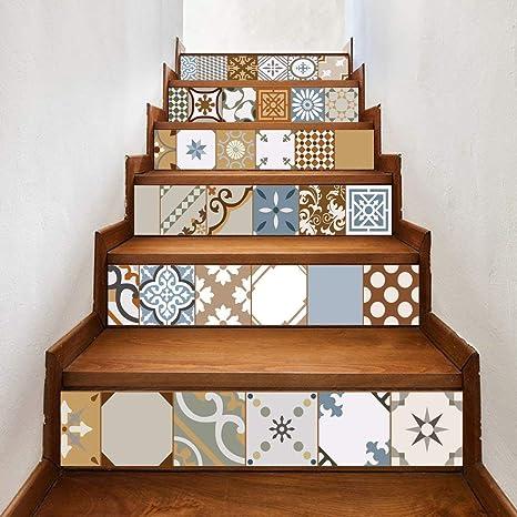 IG Etiquetas engomadas de la Escalera de Bricolaje de Seguridad Resistente al Desgaste, 6 Piezas PVC Backsplash Escalera Calcomanías en 3D Etiqueta de la Pared Decoración Tradicional para el hogar a: Amazon.es: