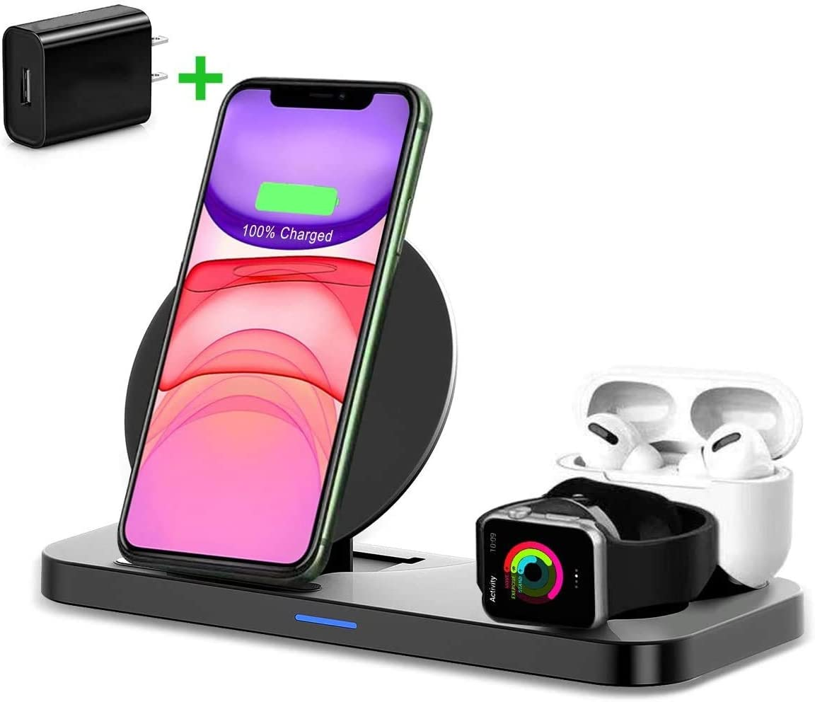 HATALKIN 3 in 1 Wireless Charger Charging Station for Apple Watch Airpods iPhone Compatible Airpods pro / 2 Apple Watch Series 5 4 3 2 1/ iPhone 12 11 pro Max/11/XS/Xs Max/XR/X/8 Plus Apple Products