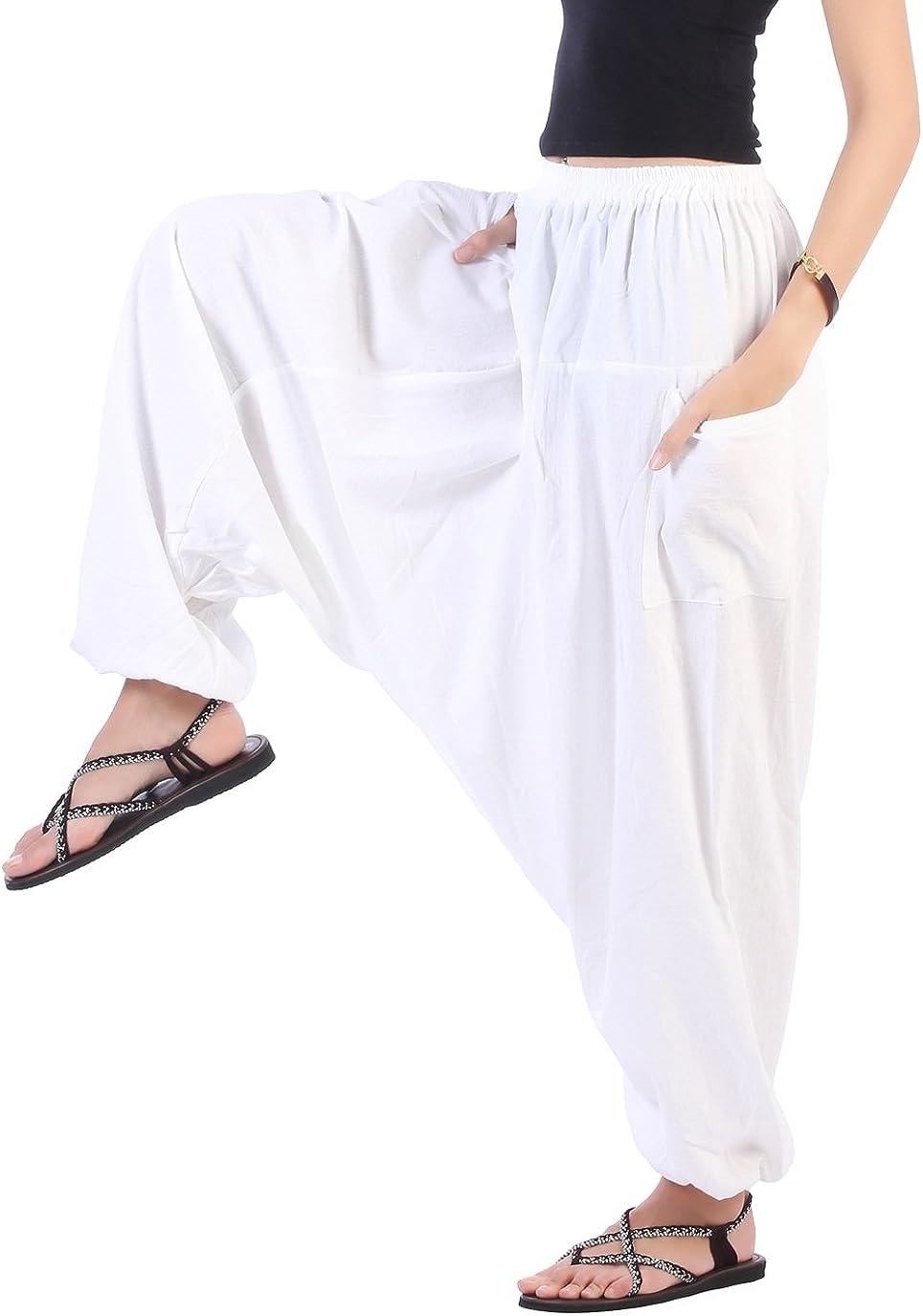CandyHusky Men Women Cotton Baggy Hippie Boho Gypsy Aladdin Yoga Harem Pants