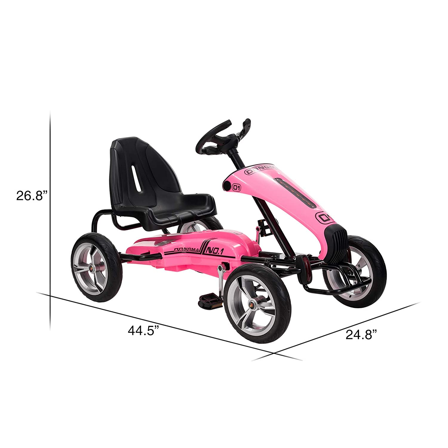 Sports Steering Wheel Pink Uenjoy Pedal Go Kart Pedal Cars with Adjustable Seat