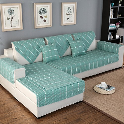 "OstepDecor Pet Dog Couch Cotton Quilted Chequer Furniture Protector Cover for Sofa, Loveseat | ONE PIECE | Backing and Armrest Sold Separately, Lake Blue 28""W x 28""L (70 x 70cm)"