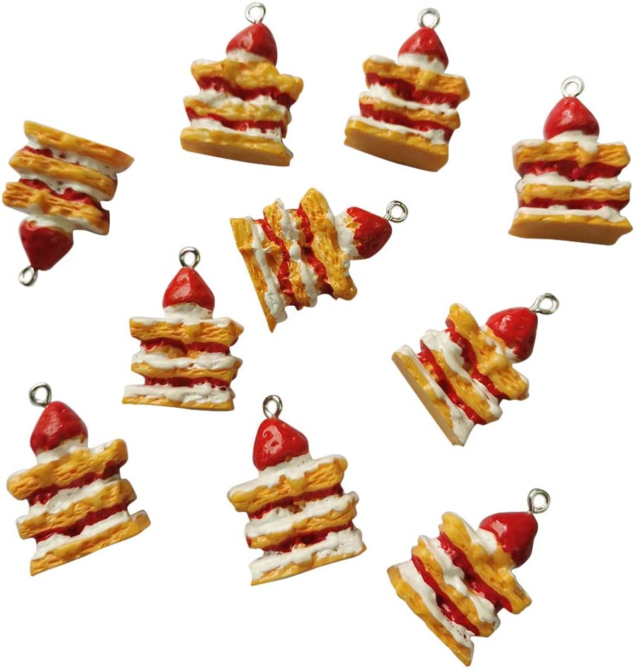AMOBESTER Strawberry Cake Pendnat Charms for DIY Earring Bracelet Necklace Food Charms Jewery Making