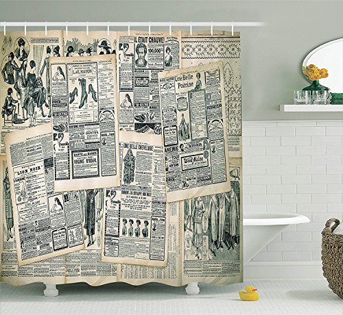 Mirryderr Antique Decor Collection, Vintage Styled Layered Sepia-Toned Newspaper Print with Old-Fashioned Illustrations, Polyester Fabric Bathroom Shower Curtain, Black Cream