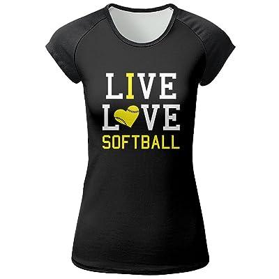 SHEERY Women's Short Sleeve Live Love Softball T Shirts Comfortable Yoga Tee for Sports