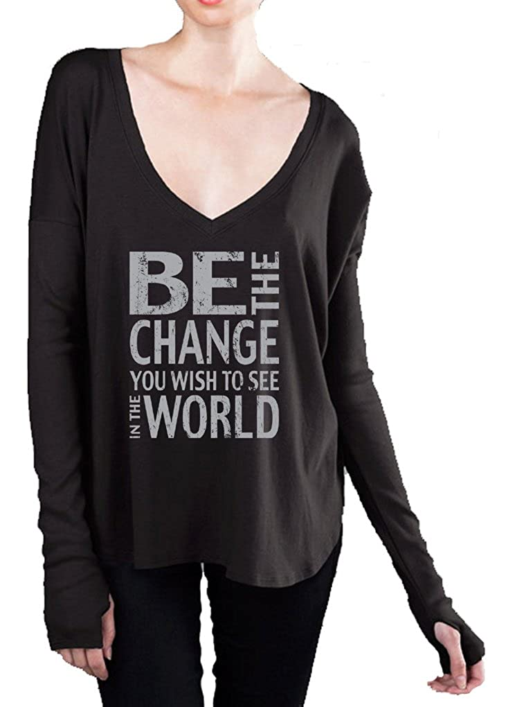 White Medium Yoga Clothing For You Be The Change VNeck Tee Shirt